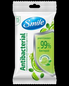 Влажные салфетки с ароматом лайма и мяты 15шт Smile Antibacterial