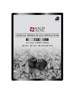 Очищающая маска с древесным углём SNP Charcoal Mineral Black Ampoule Mask