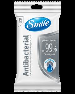 Влажные салфетки антибактериальные со спиртом 15шт Smile Antibacterial
