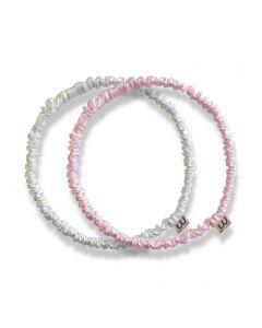 Обруч-резинка из натурального 100% шелка MON MOU (белый, розовый)