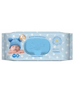 Детские влажные салфетки с экстрактом ромашки и алоэ с клапаном 100 шт Smile Baby Newborn