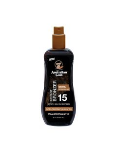 Спрей-гель для загара с бронзатором Australian Gold Spray Gel Sunscreen with Instant Bronzer SPF 15