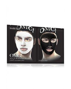 Комплекс мужских масок двухкомпонентный «Детокс» Double Dare OMG! Man In Black Facial Mask Kit