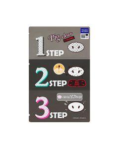 Набор патчей для удаления чёрных точек Holika Holika Pig-Nose Clear Black Head 3 Step Kit (Strong)