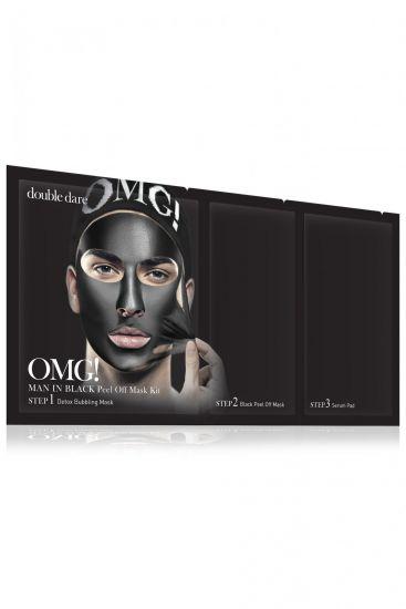 Комплекс мужских масок трехкомпонентный «Смягчение и восстановление» Double Dare OMG! Man In Black Peel Off Mask Kit