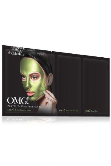 Комплекс масок трехкомпонентный «Увлажнение и себоконтроль» Double Dare OMG! Platinum GREEN Facial Mask Kit