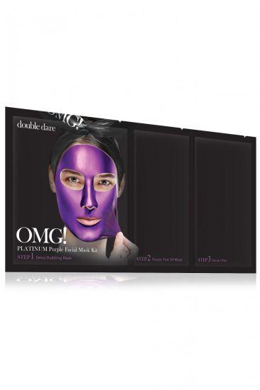 Комплекс масок трехкомпонентный «Глубокое увлажнение и релакс» Double Dare OMG! Platinum PURPLE Facial Mask Kit