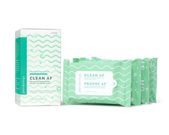 Очищающие салфетки для демакияжа 4 упаковки Patchology Clean AF Facial Cleansing Wipes