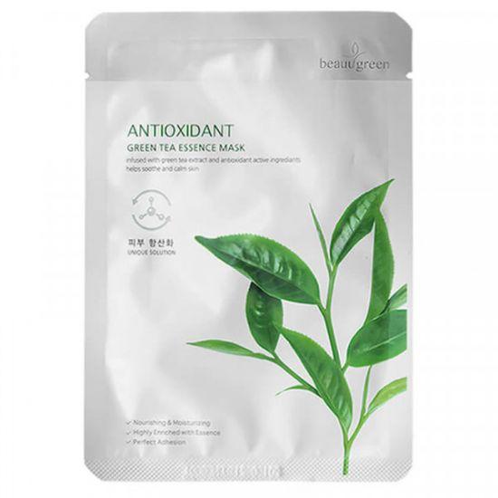Тканевая маска c экстрактом зеленого чая Beauugreen Antioxidant Green Tea Essence Mask