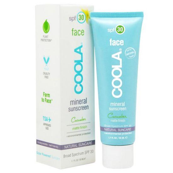 Минеральный матирующий солнцезащитный крем для лица SPF 30 Coola Mineral Face Matte Untinted Moisturizer – Cucumber