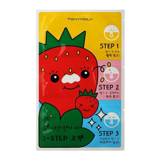 Патчи от черных точек TONY MOLY Runaway Strawberry Seeds 3-Step Nose Pack