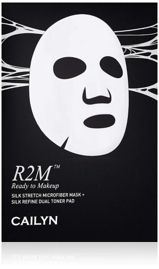 Шелковая маска из микрофибры + спонж Cailyn R2M SILK STRETCH MICROFIBER MASK + SILK REFINE DUAL TONER PAD