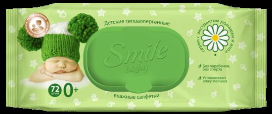 Детские влажные салфетки c экстрактом ромашки и алоэ с клапаном 72 шт Smile Baby